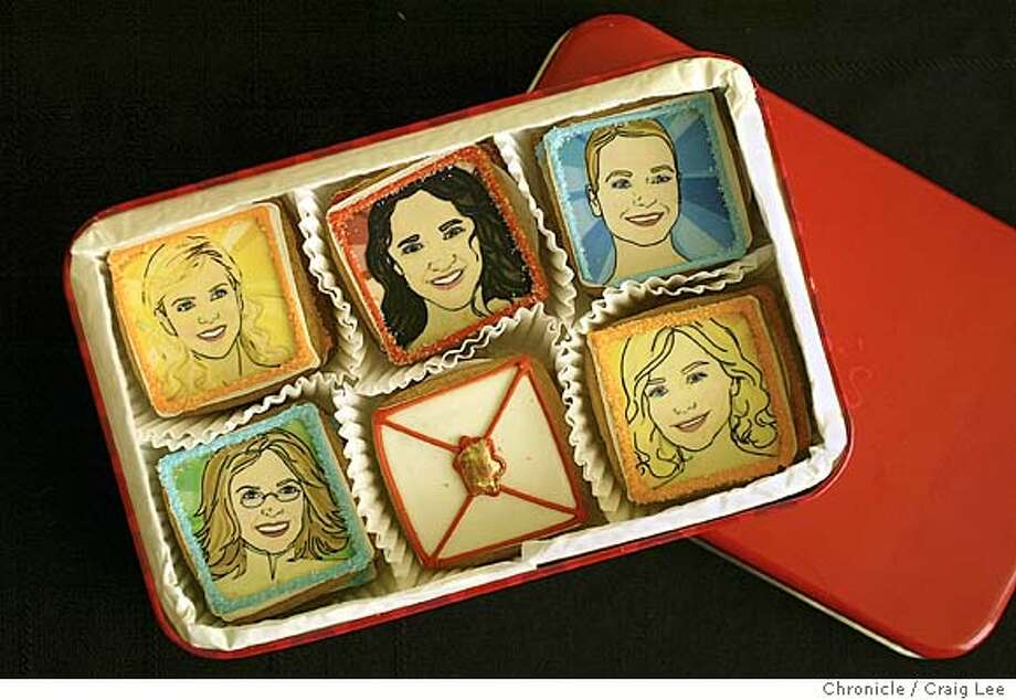 Food ideas for Oscar parties. Photo of cookies with oscar nominated actresses on them. Event on 2/20/04 in San Francisco. Craig Lee / The Chronicle Photo: Craig Lee