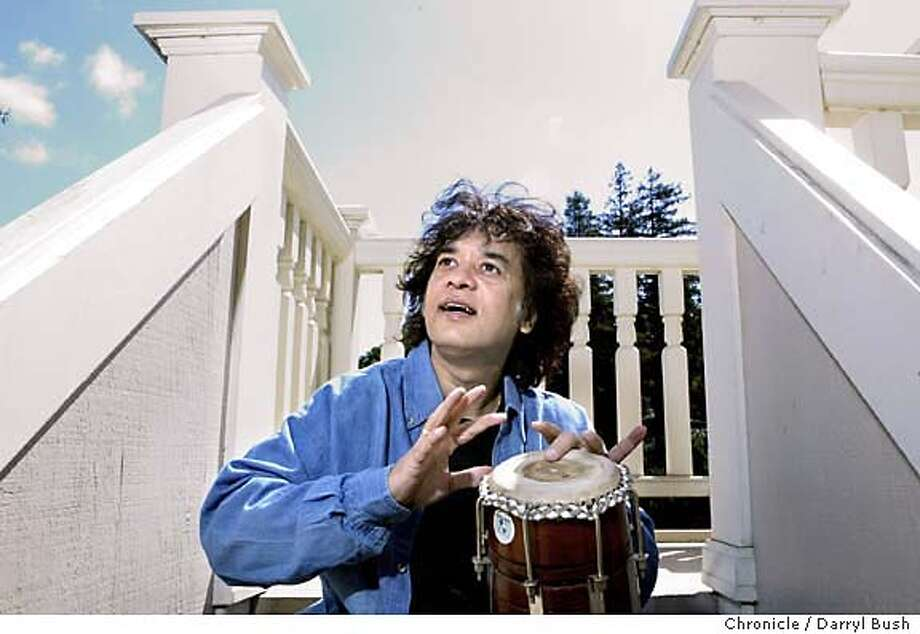 hussian18_018_db.JPG  Zakir Hussain, a master percussionist originally from India, at Moment Record's office at the historic Robson-Harrington House. Event on 4/6/04 in San Anselmo.  Darryl Bush / The Chronicle MANDATORY CREDIT FOR PHOTOG AND SF CHRONICLE/ -MAGS OUT Photo: Darryl Bush