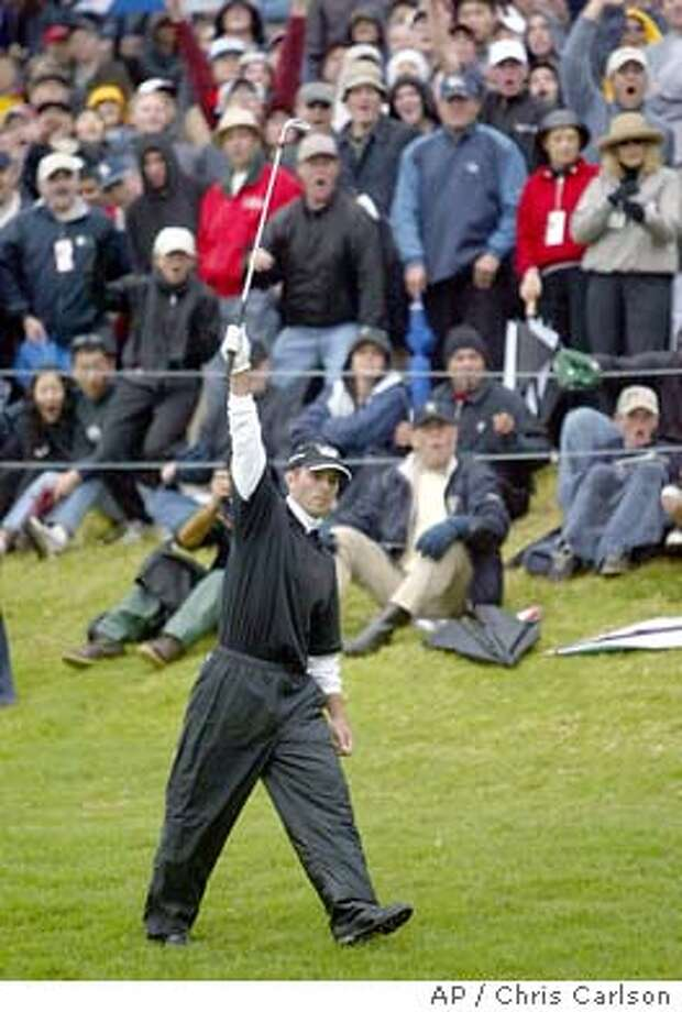 Mike Weir of Canada reacts after almost chipping in for birdie on the 18th hole during the final round of the Nissan Open at Riviera Country Club in Los Angeles' Pacific Palisades area Sunday, Feb. 22, 2004. Weir beat Shigeki Maruyama, of Japan by one shot. (AP Photo/Chris Carlson) Photo: CHRIS CARLSON