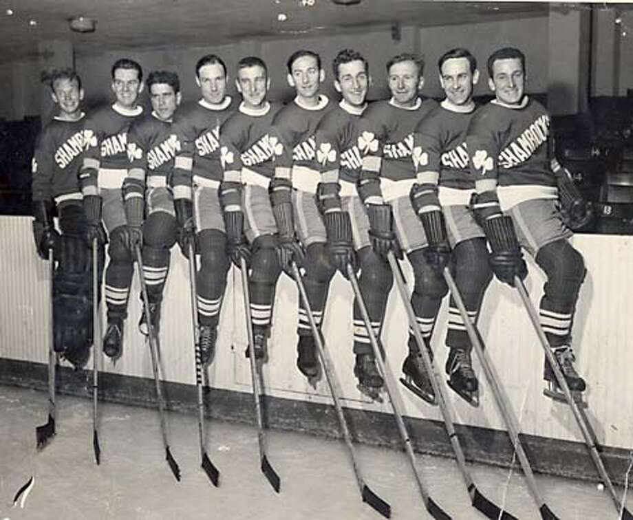 The San Francisco Shamrock ice hockey team. L-R : Bill Gribble, Jack Beauchamp, Herb Sweder, Gene Mott, Robert Maker, George Collins, Larry Silvestri, Frank Nichol, Buford Weber, Alan Langlois