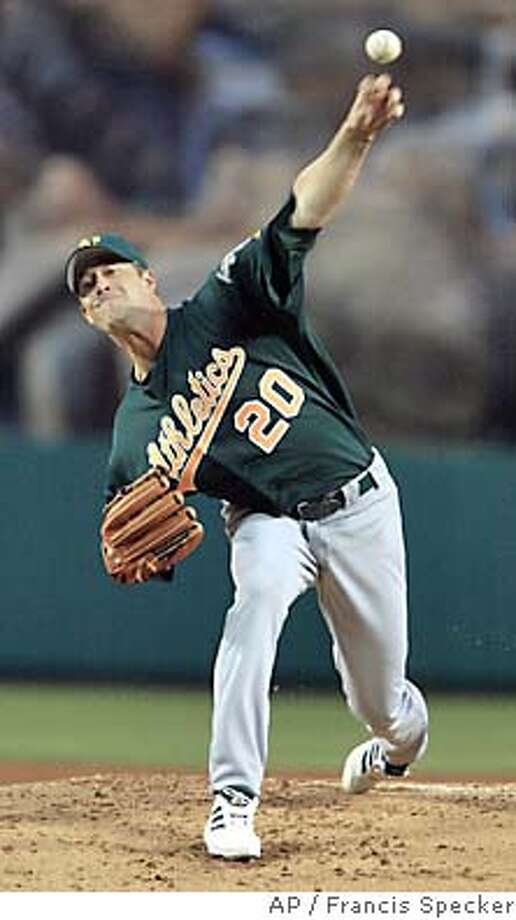 Mark Mulder pitches against the Anaheim Angels in the first inning Saturday. Associated Press photo by Francis Specker