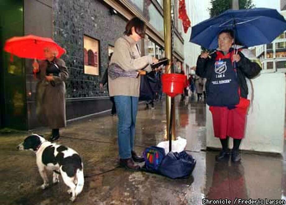 VOLUNTEERS/03DEC97/MN/FRL: The Salvation Army outside Macy's Union Square still rings their bells for donations. Chronicle photo by Frederic Larson