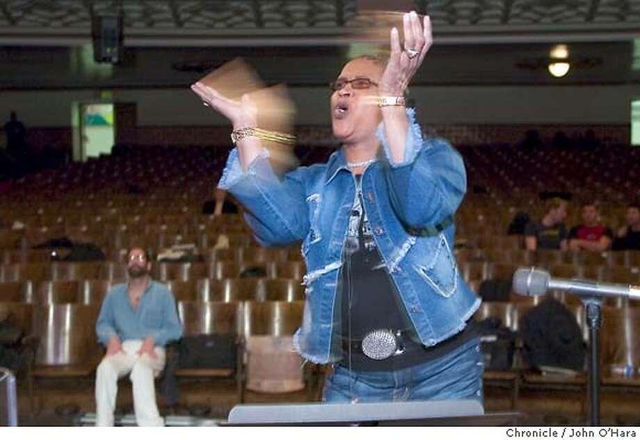 Mission High School Auditorium, 3750 18th st. S.F. Yvonne Evans, directing the choir group  The Transcendence Gospel Choir, preparing for concert  Also photos of Gay Men's Choir  photo/John O'Hara Photo: John O'Hara