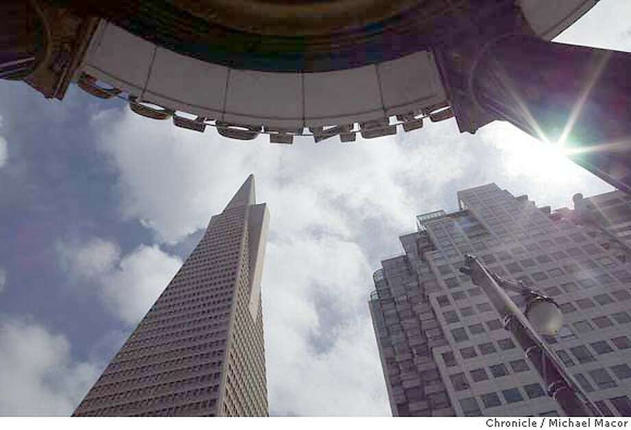 """San Francisco's tallest building, the """"Transamerica Pyramid"""", as seen from the corner of Columbus Ave. and Jackson St.Walking the City of San Francisco. Reporter Tom Graham is walking every street and alley in the city. He recounts history and observations along the way. event on 4/13/04 in San Francisco Michael Macor / San Francisco Chronicle Photo: Michael Macor"""