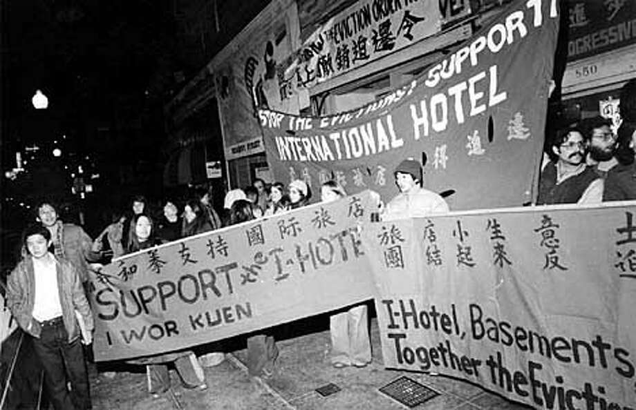 THIS IS A HANDOUT IMAGE. PLEASE VERIFY RIGHTS. Rally outside the International Hotel, after the stay of eviction. Photo: DAVE RANDOLPH