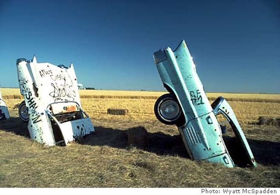 / for: Datebook Cadillac Ranch horizon]Ant Farm (Lord, Marquez, Michels), Cadillac Ranch: The Restoration, 1974, 2002; site-specific installation, Amarillo, Texas � Ant Farm. Photo: Wyatt McSpadden. &quo;Cadillac Ranch: The Restoration, 1974, 2002,&quo; a photo of the installation set up by Ant Farm near Route 66 in Amarillo, Texas. / for: Datebook ant farm Cadillac Ranch #3