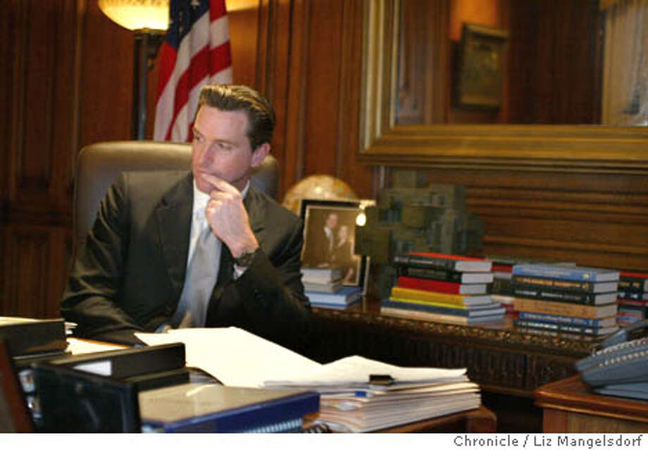 46FB0068.JPG  San Francisco Mayor Gavin Newsom in his office during an interview. Event on 2/19/04 in San Francisco. LIZ MANGELSDORF / San Francisco Chronicle Mayor Gavin Newsom is surprising some longtime observers of San Francisco politics with his hands-on, in-your-face style of leadership. Photo: LIZ MANGELSDORF