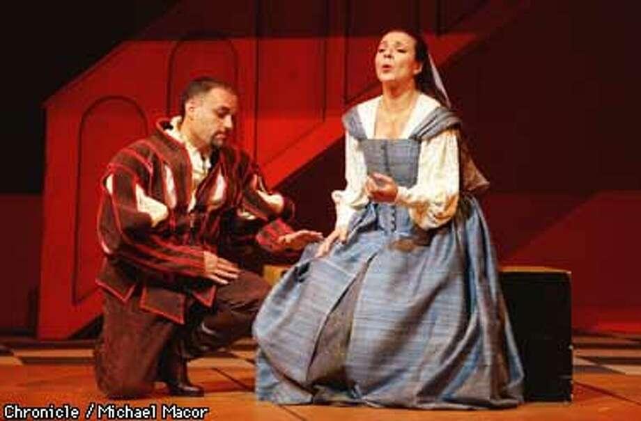 Rigoletto presented by SF Opera Company. Frank Lopardo plays The Duke of Mantua and Guisy Devinu plays Gilda. ACT I . Chronicle Photo: Michael Macor Photo: MICHAEL MACOR