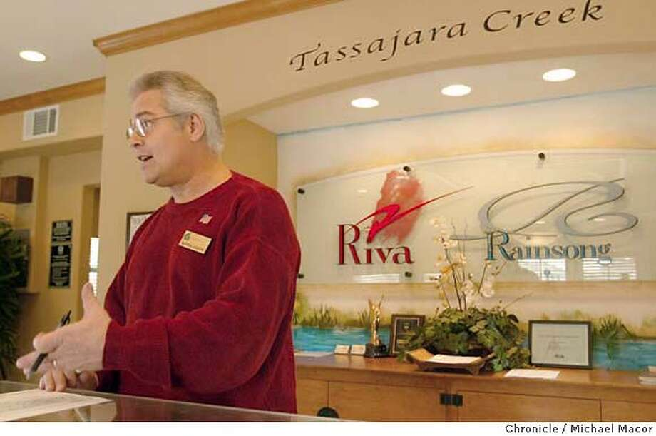 "Warren Hanson, Community Sales Manager, for Greenbriar Homes, offers the""Riva"" and ""Rainsong"" single family homes in Dublin. Names of new home subdivisions, how builders come up with the names,what they mean, how well they wear over time and whether these brands resonate with consumers. event on 2/13/04 in Pleasanton Michael Macor / San Francisco Chronicle Photo: Michael Macor"