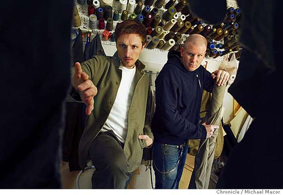 Local fashion designers Ian Hannula and Joe Haller are former DJ's whose Nice collection has evolved into an avant garde, conceptual clothing line. Justin Timberlake, Seal and the Rolling Stones are a few of their clients.  Event on 1/13/04 in San Francisco. MICHAEL MACOR / The Chronicle Photo: MICHAEL MACOR