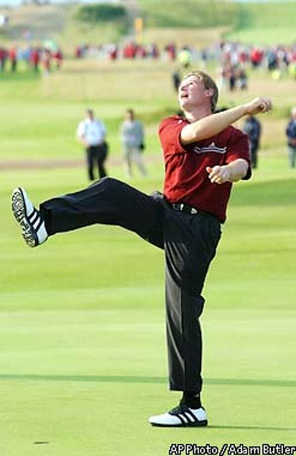 South Africa's Ernie Els tosses his hat into the air in celebration after winning the Golf Championship at Muirfield golf course in Scotland Sunday July 21, 2002. Els won the tournament after beating Thomas Levet of France in a sudden death playoff. Earlier Els and Levet had been in a four-way playoff with Australia's Stuart Appleby and Steve Elkington. (AP Photo/Adam Butler) Photo: ADAM BUTLER