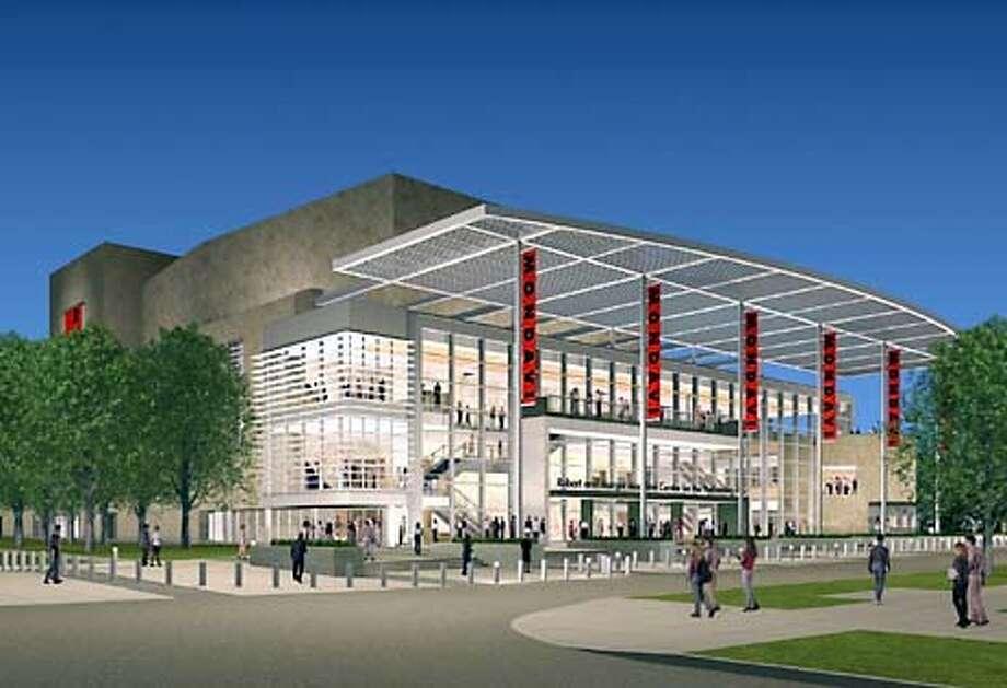 An architect's rendering of the massive sandstone Mondavi Center at UC Davis.