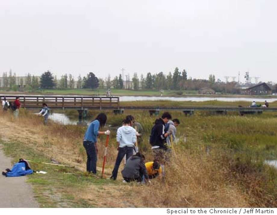 An Earth Team of Bay Area high school students work on a restoration project at Arrowhead Marsh, on Martin Luther King Jr. Shoreline in September (2003).
