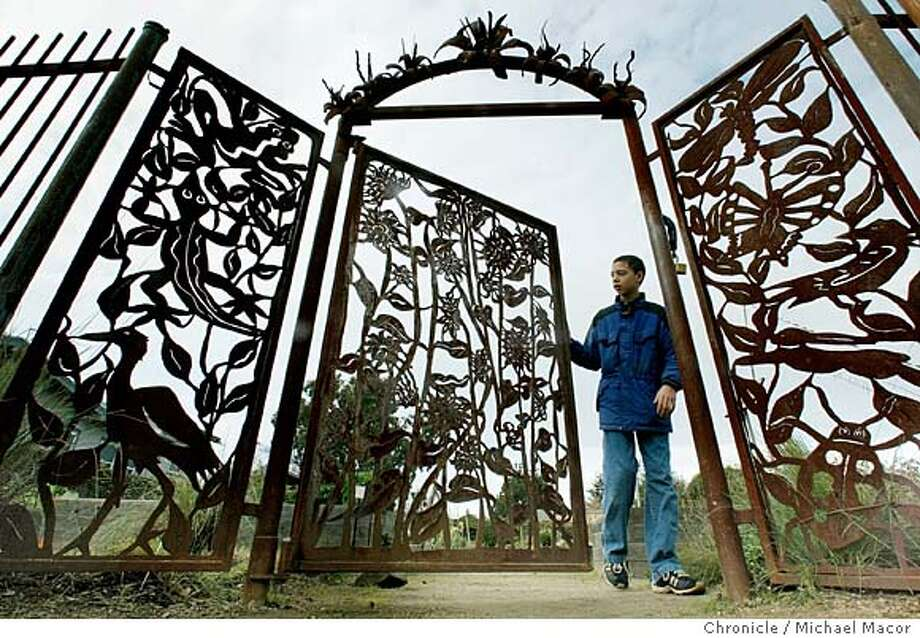 "gates128_mac.jpg John Sissom, 12 of Berkeley checks out the garden gates. The Peralta Community Garden in Berkey has a grand entry of a metal gate into the gardens. Home and Garden story on, ""Gates"". Event on 1/28/04 in Berkeley. MICHAEL MACOR / The Chronicle MANDATORY CREDIT FOR PHOTOG AND SF CHRONICLE/ -MAGS OUT Photo: MICHAEL MACOR"