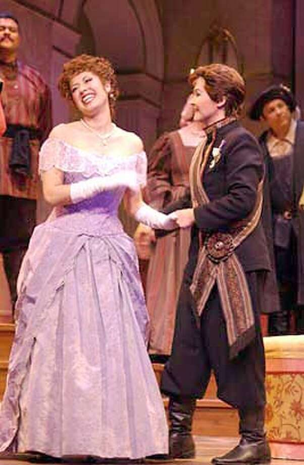 Joseph Muir as Alfred and Lori Decter as Rosalinde  adeleorlofsky: From left: Sandra Rubalcava as Adele and Michele Detwiler as  Prince Orlofsky