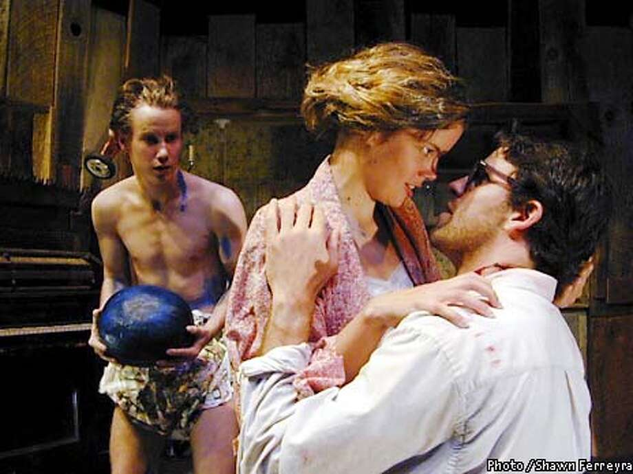(l-r) Mister (Matthew Roe) is shocked as Starla (Melanie Rademaker) and Man (Rick Eldredge) break the only law there is in their surreal dreamworld, to love. Photos by Shawn Ferreyra  Undated handout photo Photo: Handout