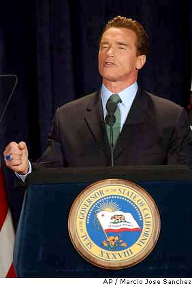 California Gov. Arnold Schwarzenegger speaks at the the California Republican Party Convention in Burlingame, Calif., on Friday, Feb. 20, 2004. (AP Photo/Marcio Jose Sanchez) Photo: MARCIO JOSE SANCHEZ