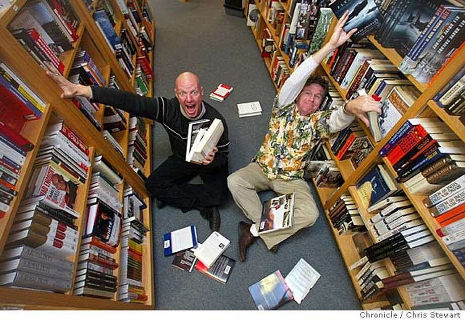 "Event on 2/5/04 in Corte Madera.  Reed Martin (bald, dark clothes) and Austin Tichenor (Aloha shirt) are part of a comedy troupe, the name of which wasn't mentioned on the photorequest (including the subject's names). It's an advance for ""All the Great Books,"" which will play at the Cowell Theater at Fort Mason -- they perform 90 of the world's greatest literary titles in 90 minutes. Photographed at Book Passage in Corte Madera. Chris Stewart / The Chronicle � Photo: Chris Stewart"