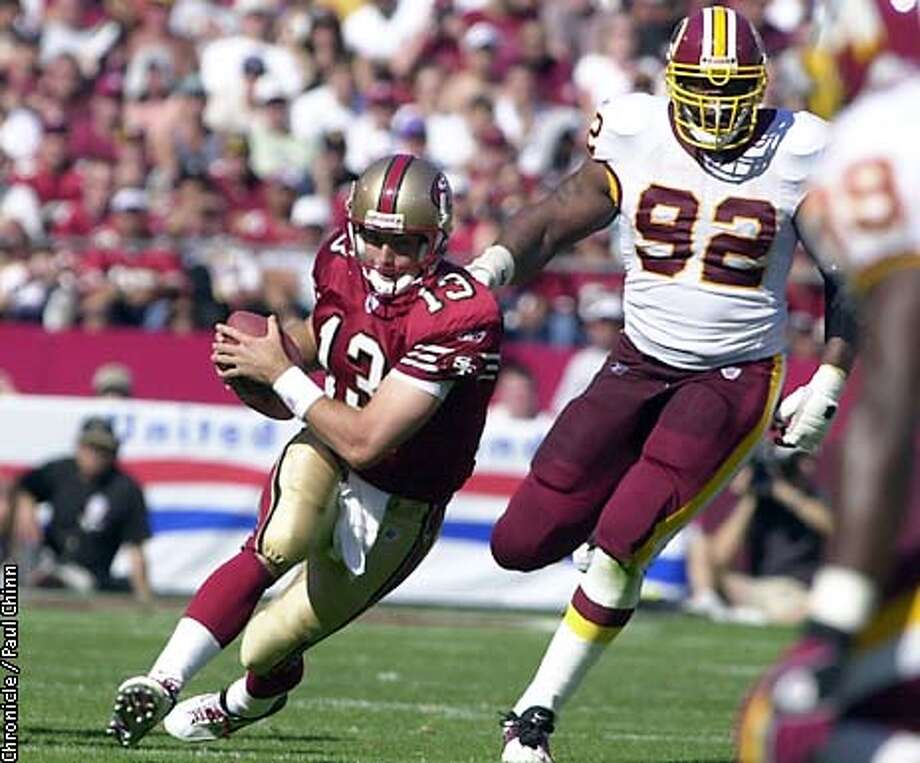 Tim Rattay scrambled away from the Redskins defense in the 4th quarter. Rattay played almost the entire second half. The 49ers vs. Washington Redskins at Candlestick Park.  PAUL CHINN/S.F. CHRONICLE Photo: PAUL CHINN