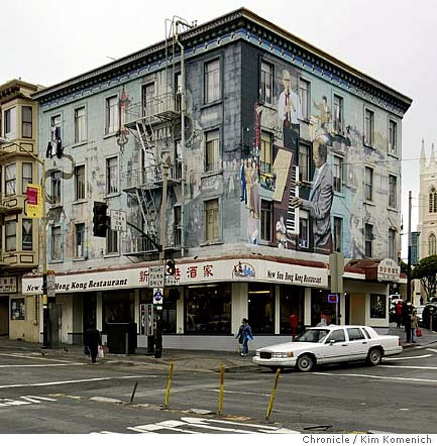The North Beach Jazz Mural is fading and the North Beach Chamber of Commerce is raising $75,000 to restore it. So far the group has raised $25,000 and the part facing Columbus and Broadway (to the right of the building's corner) has been restored. The part facing Broadway and Grant (to the left of the corner), which contains many references to San Francisco Chinese history, has not been restored. Photo by Kim Komenich in San Francisco. Photo: Kim Komenich