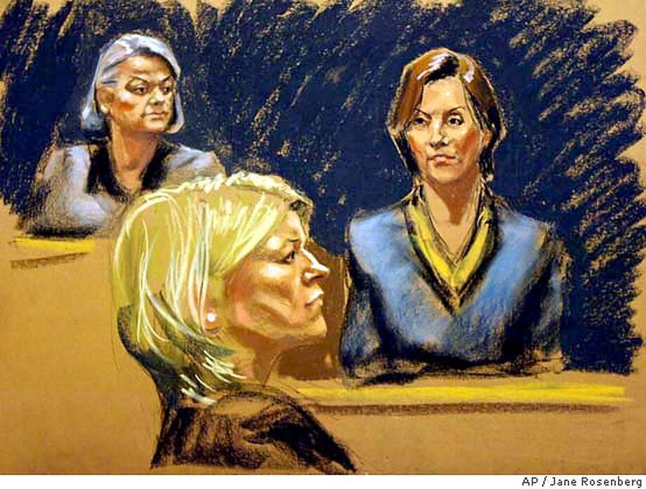 Judge Miriam Goldman Cedarbaum, left, listens as Mariana Pasternak, right, testifies in this courtroom sketch Thursday, Feb. 19, 2004 in the trial of Martha Stewart, center. Pasternak, whose friendship with Stewart goes back 20 years, said Stewart confided to her just after she sold the stock that ImClone CEO Sam Waksal had tried to sell his own shares. (AP Photo/Jane Rosenberg) U.S. District Judge Miriam Goldman Cedarbaum (left) listens as Mariana Pasternak (right) testifies in the trial of Martha Stewart (center). Photo: JANE ROSENBERG