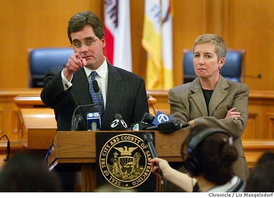 A69C1281.JPG  San Francisco City Attorney Dennis Hererra, left, and Sf Chief deputy Attorney Therese Stewart answer questions for the media after they have filed a lawsuit against the State of California regarding same-sex marriages. Event on 2/19/04 in San Francisco. LIZ MANGELSDORF / San Francisco Chronicle City Attorney Dennis Herrera (left) and Chief Deputy City Attorney Therese Stewart answer questions from the media after filing the city's lawsuit. Photo: LIZ MANGELSDORF