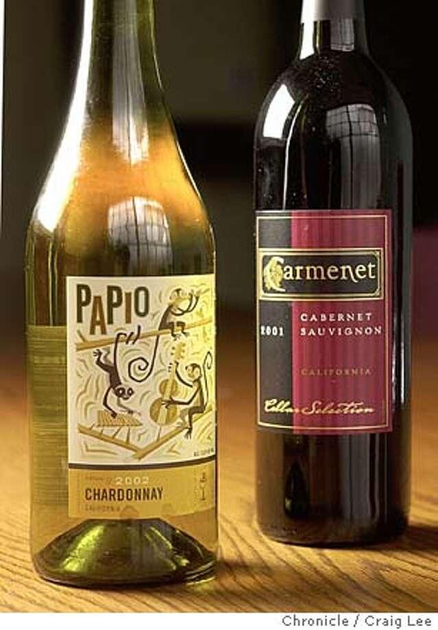 For Bargain Wines column. Photo of 2002 Papio Chardonnay and 2001 Carmenet California Cabernet Sauvignon. Event on 2/13/04 in San Francisco. Craig Lee / The Chronicle Photo: Craig Lee