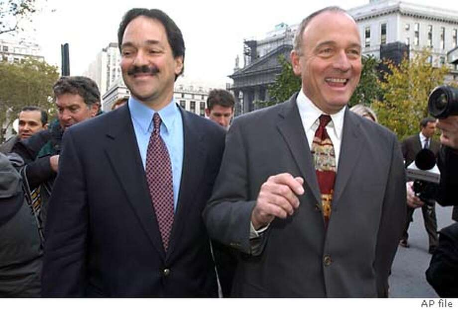Frank Quattrone, left, leaves Manhattan Federal Court with his attorney John Keker, Friday, Oct. 24, 2003, in New York. U.S. District Judge Richard Owen declared a mistrial after the jury was unable to reach a decision following six days of deliberation in the trial of investment banker Frank Quattrone, accused of witness tampering and obstruction of justice. (AP Photo/ Louis Lanzano) Photo: LOUIS LANZANO