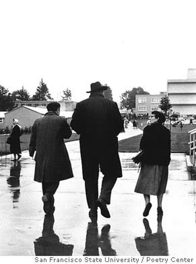 Robert Duncan, Charles Olson and Ruth Witt-Diamant on SF campus, March 8, 1957.