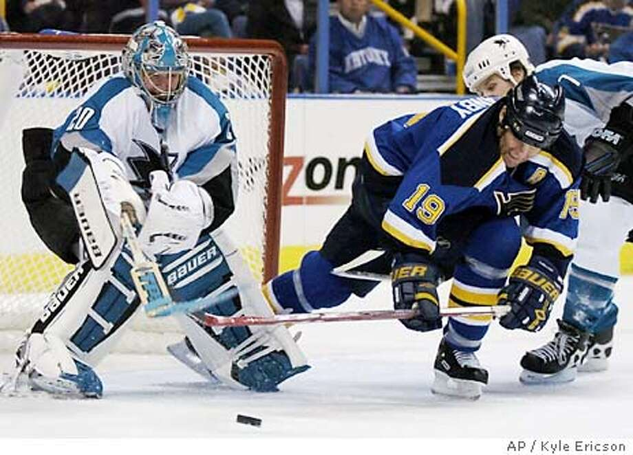 San Jose Sharks goaltender Evgeni Nabokov, left, of Kazakstan, clears the puck as Brad Stuart, far right, tries to keep St. Louis Blues' Scott Mellanby (19) from reaching the puck in the second period of Game 4 of their first-round NHL playoff series Tuesday, April 13, 2004, in St. Louis. (AP Photo/Kyle Ericson) Photo: KYLE ERICSON