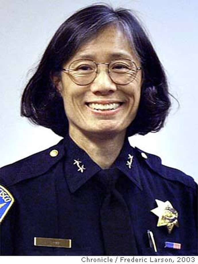 ** FILE ** San Francisco Assistant Police Chief Heather Fong is shown in a file photo from March, 5, 2003, in San Francisco. Making good on a campaign promise to reform the city's embattled police department, San Francisco Mayor Gavin Newsom announced Sunday, Jan. 18, 2004, he had replaced Chief Alex Fagan with Fong, a 26-year veteran and the first woman to run the department. (AP Photo/San Francisco Chronicle, Frederic Larson, File)  ALSO RAN: 1/23/2004, 01/31/2004 Acting S.F. Police Chief Heather Fong plans to reorganize her command staff within a month. ProductName	Chronicle Fong Fong Fong Photo: FREDERIC LARSON