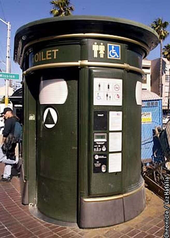 Pay toilet on 16th and Mission streets.  (PHOTOGRAPHED BY LIZ HAFALIA/THE SAN FRANCISCO CHRONICLE) Photo: LIZ HAFALIA