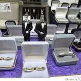 CASTRO18009_LI.jpg event on 2/17/04 in SAN FRANCISCO Wedding bands have been a popular item at Does Your Father Know gift shop in the Castro Dist of San Francisco since same sex marriages started to be performed at City Hall last week. Lance Iversen / The San Francisco Chronicle