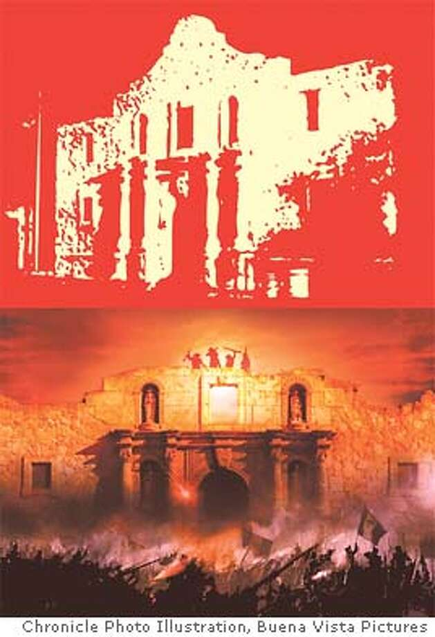 The Alamo. Chronicle Photo Illustration (bottom image courtesy Touchstone Pictures)