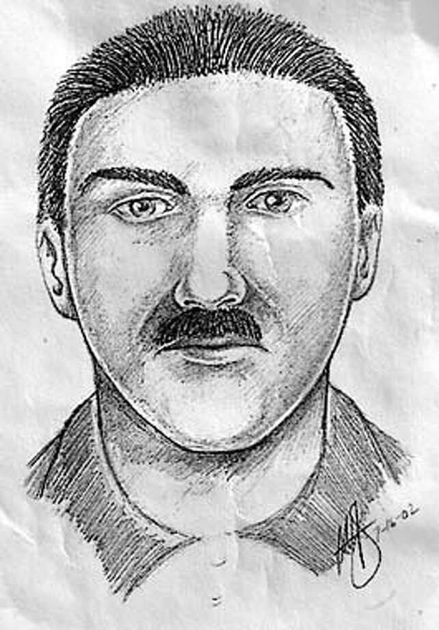 A police sketch of a kidnapping suspect released Tuesday, July 16, 2002, by the Orange County Sheriff-Coroner Department in Stanton, Calif. The suspect who kidnappened victim Samantha Runnion, 5, Monday July 15, 2002 outside her home in Stanton, Calif. Suspect is described as a male Hispanic, 25-40 years, black hair and thin mustache. Wearing powder blue button down shirt. Driving a light green 2-door vehicle, possibly a Honda or Acura. (AP Photo/Orange County Sheriff Department/HO) Photo: HO