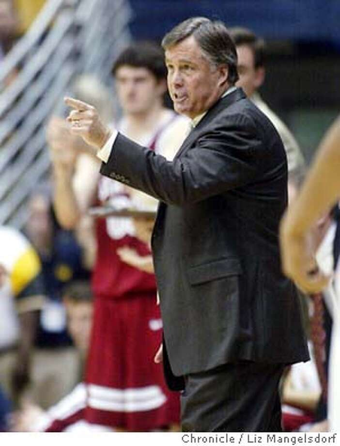 Event at Berkeley on 2/14/04.  Stanford's head coach Mike Montgomery yells at the referee in the 1st half.  Cal bears lost to the Stanford Cardinals at Berkeley.  Liz Mangelsdorf/ The Chronicle Photo: LIZ MANGELSDORF