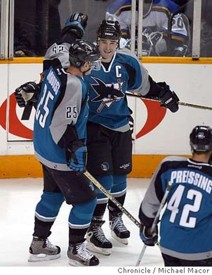 Marleau with a hat-trick today, sharks win 3-1 over St. Louis.Sharks 12- Patrick Marleau celebrates his 1st period goal, with 25- Vincent Damphousse. 42- Tom Preissing nearby. Game 2 of the first round of the NHL playoffs between the San Jose Sharks vs. St. Louis Blues. event on 4/10/04 in San Jose Michael Macor / San Francisco Chronicle Photo: Michael Macor