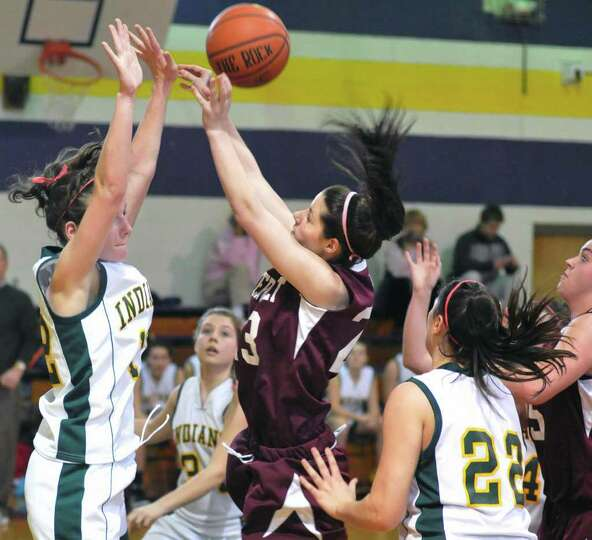 Watervliet's #23 Beatrice Lease and Ravena's #12 Olivia Vosburgh, left, during Saturday's game at Vo