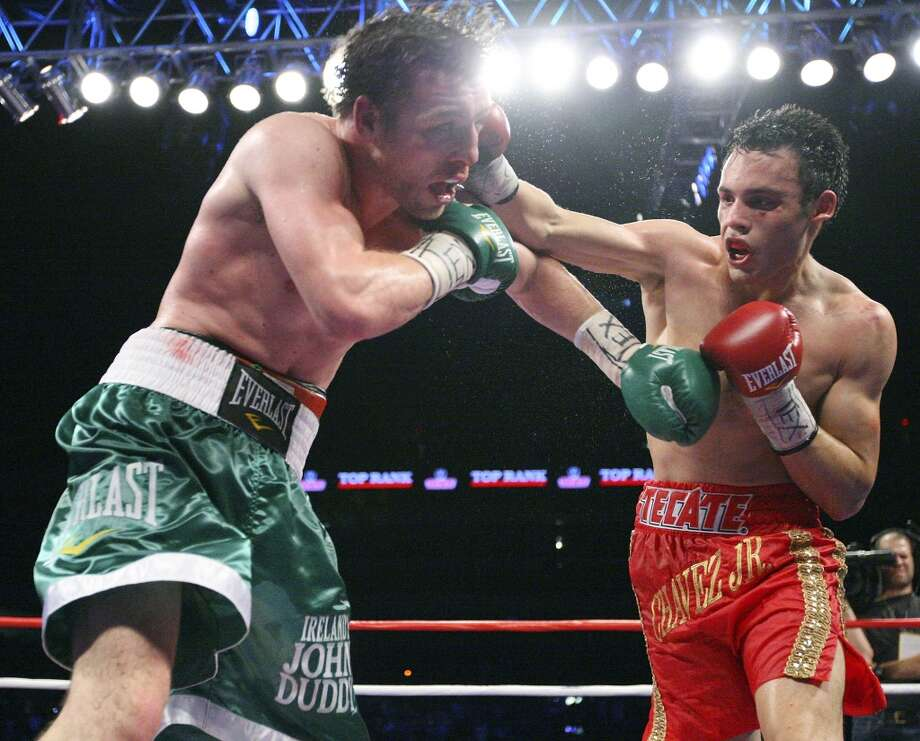 Julio Cesar Chavez Jr. lands a punch against John Duddy in 2010. Chavez Jr., undefeated in 45 bouts, will face Marco Antonio Rubio at the Alamodome on Saturday. Edward A. Ornelas / eaornelas@express-news.net