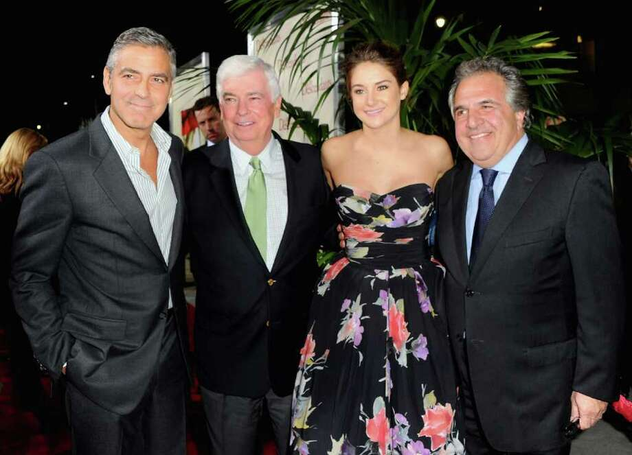 "Actor George Clooney, former Sen. Christopher Dodd, actress Shailene Woodley and Fox's Jim Gianopulos arrive to the premiere of Fox Searchlight's ""The Descendants"" at AMPAS Samuel Goldwyn Theater on November 15, 2011 in Beverly Hills, California.  (Photo by Alberto E. Rodriguez/Getty Images) Photo: Alberto E. Rodriguez, Getty Images / 2011 Getty Images"