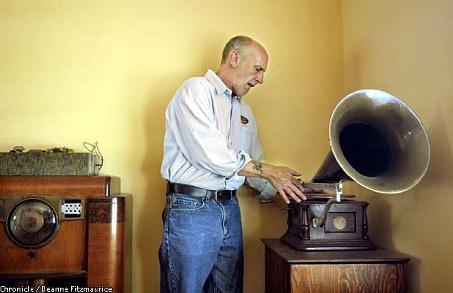 Dave Morey shows off his antique music equipment. The KFOG DJ brings a historical perspective to his show that's rare in rock radio. Chronicle photo by Deanne Fitzmaurice