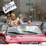 People getting married at San Francisco City Hall. SHOWN: Peter Lepley (L) and Mike Wilson (R) proudly proclaim their married status from their car as they drive past City Hall on Polk St. Katy Raddatz / The Chronicle