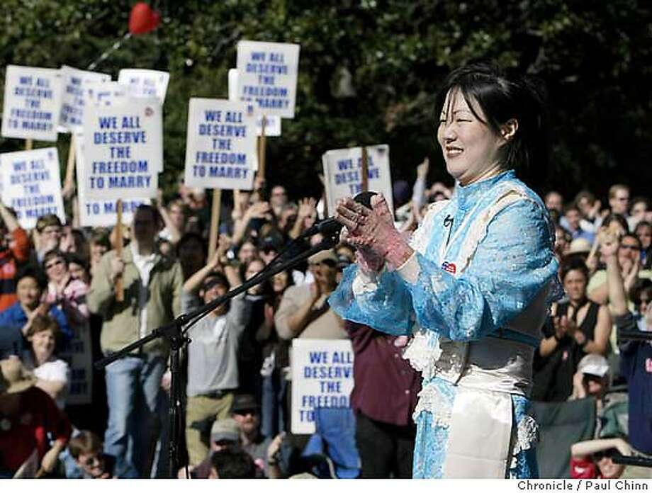 rally_196_pc.JPG Comedian Margaret Cho fired up the crowd with a humorous touch during the rally. Supporters of same-sex marriages held a rally in front of the State Capitol on 2/14/04 in Sacramento. PAUL CHINN / The Chronicle Photo: PAUL CHINN