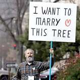 rally_065_pc.JPG A protester identifying himself as Mr. Tree shouts at same-sex marriage advocates during the rally. Supporters of same-sex marriages held a rally in front of the State Capitol on 2/14/04 in Sacramento. PAUL CHINN / The Chronicle MANDATORY CREDIT FOR PHOTOG AND SF CHRONICLE/ -MAGS OUT