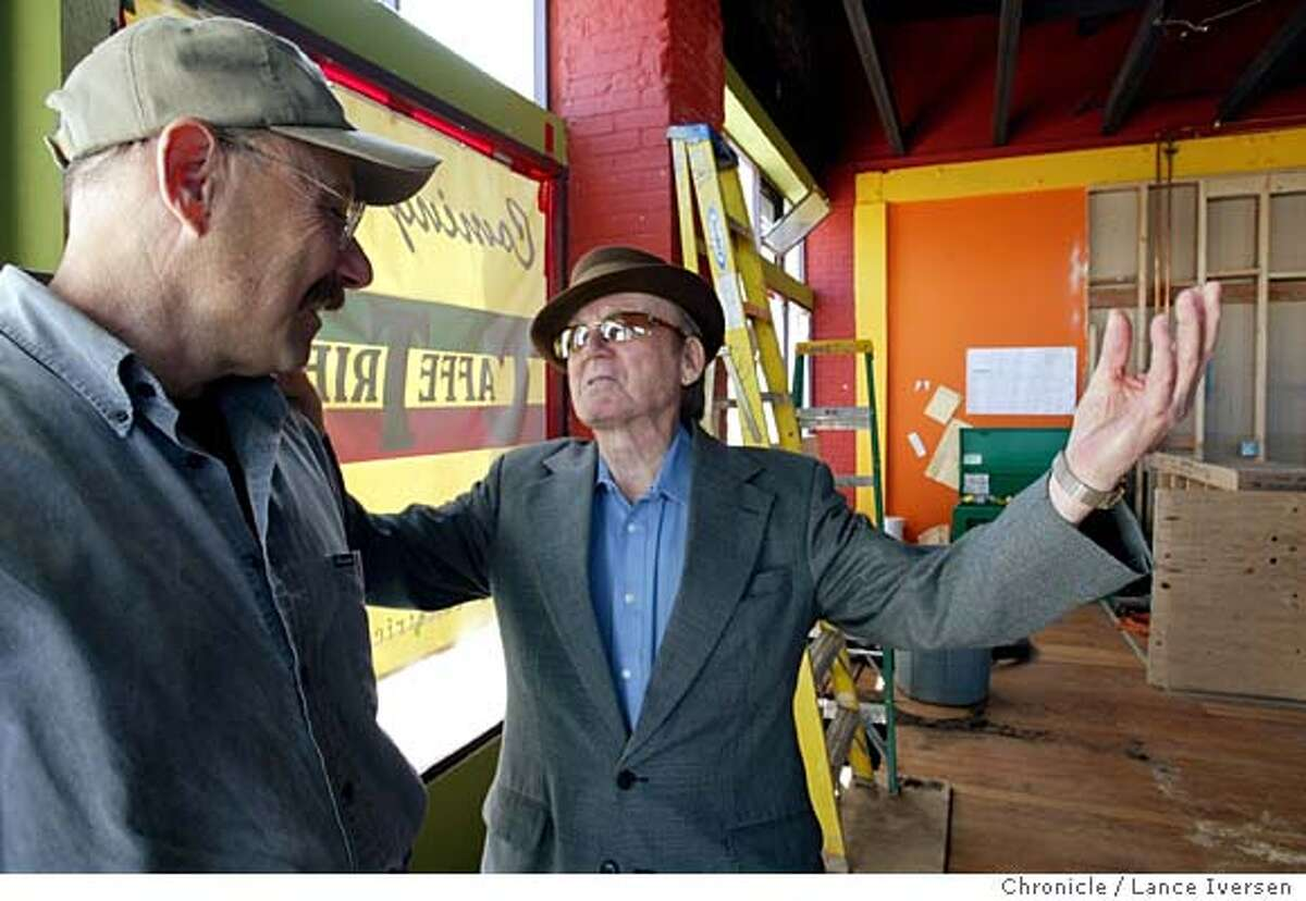 EBTRIESTEOO_09A003_LI.JPG event on 3/24/04 in BERKELEY Giovanni Giotta, (Right) talks with his new partner Hal Brandel inside their new enterprise at 2500 San Pablo in Berkeley. Giotta is the man who introduced Alan Ginsburg to Lawrence Ferlinghetti, and is the owner of the North Beach institution Cafe Triest. Giotta will be 84-year-old when the new North Beach style espresso bar, Caf� Trieste opens in Berkeley next month. By Lance Iversen/The San Francisco Chronicle