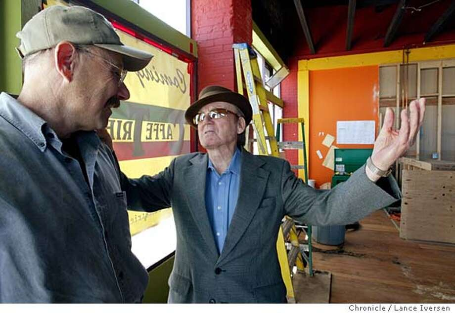 EBTRIESTEOO_09A003_LI.JPG event on 3/24/04 in BERKELEY Giovanni Giotta, (Right) talks with his new partner Hal Brandel inside their new enterprise at 2500 San Pablo in Berkeley. Giotta is the man who introduced Alan Ginsburg to Lawrence Ferlinghetti, and is the owner of the North Beach institution Cafe Triest. Giotta will be 84-year-old when the new North Beach style espresso bar, Caf� Trieste opens in Berkeley next month. By Lance Iversen/The San Francisco Chronicle Photo: Lance Iversen