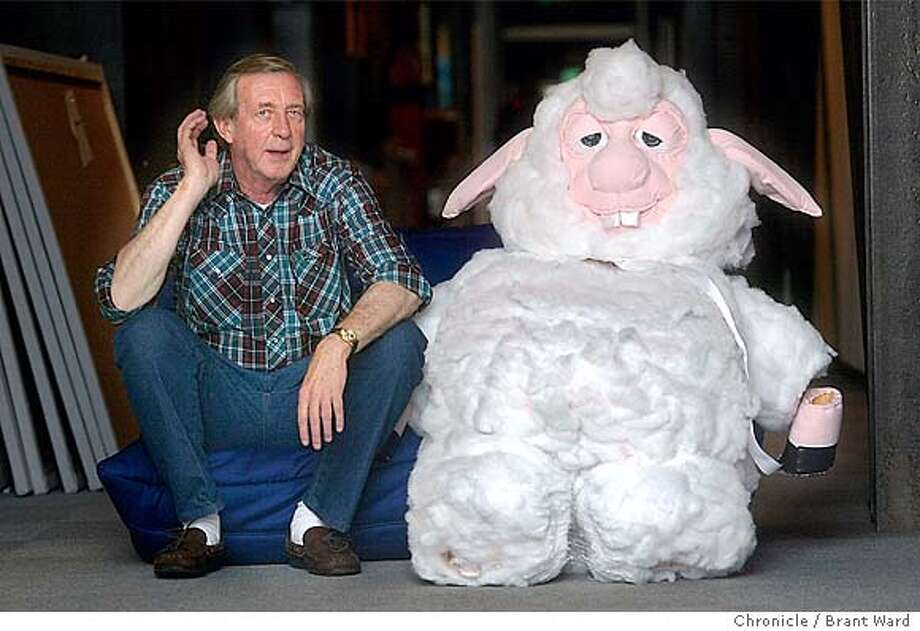 "luckey002_bw.jpg Bud Luckey, a Pixar animator, has made a short animation film called ""Boundin"" which has been nominated for an Academy Award. He is a shy, veteran animator much praised by his colleagues. Photographed at Pixar headquarters in Emeryville. Here he sits with a lifesize version of the lamb in his film...a fellow animator made the lamb after seeing his film. BRANT WARD / The Chronicle MANDATORY CREDIT FOR PHOTOG AND SF CHRONICLE/ -MAGS OUT Photo: BRANT WARD"