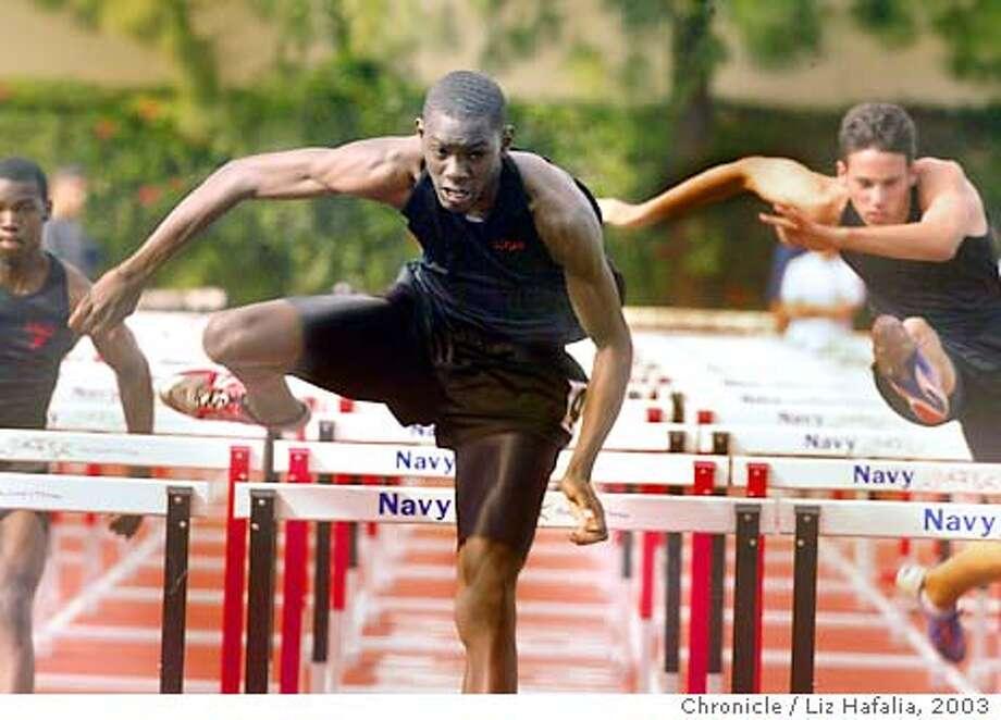 Feature on members of the James Logan High School track team. Kevin Craddock came in first in the 110 hurdles at fourteen thirteen. Shot on 5/16/03 in Union City. LIZ HAFALIA / The Chronicle Photo: LIZ HAFALIA