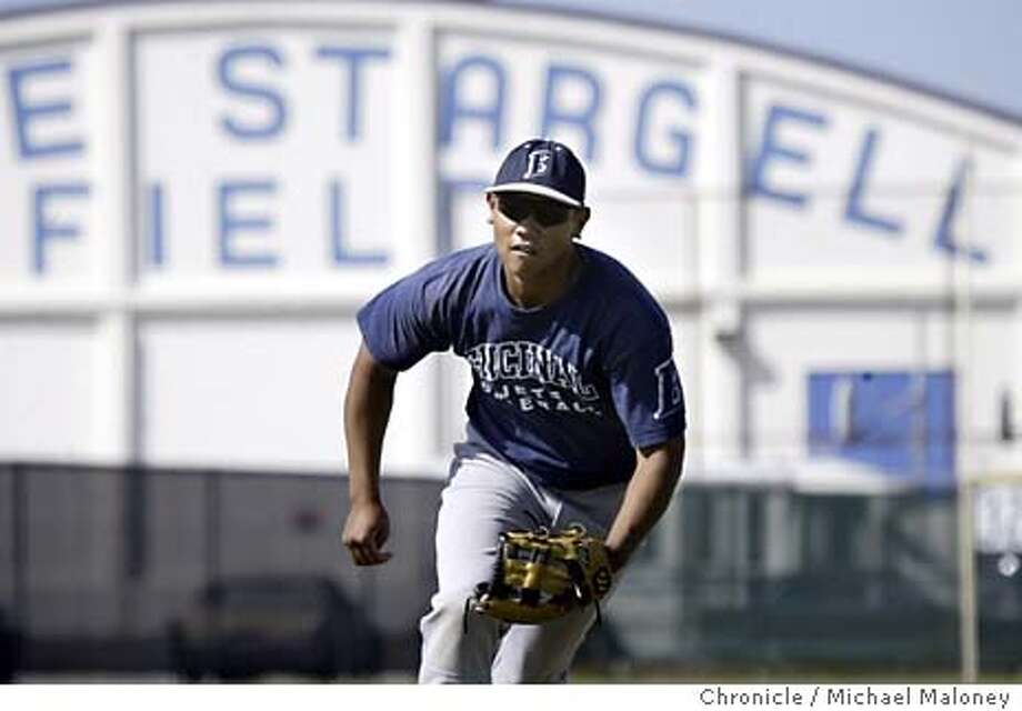 Encinal's shortstop Ian Bautista during practice at Willie Stargell Field.  Encinal High (Alameda) baseball is a perennial Bay Area and North Coast Section power led by Encinal's top player, senior shortstop Ian Bautista, a 5-9, 170-pounder. The school has produced a number of great baseball players including Willie Stargell who attended Encinal. The baseball field is named after him.  Photo by Michael Maloney / CHRONICLE Photo: Michael Maloney