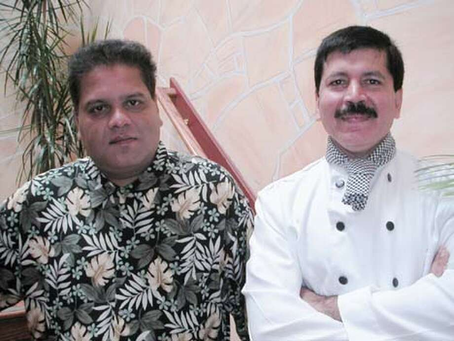 Photo of Brian Joseph, co-proprietor (left)  and executive chef Arvind Bhargava (right) Turmerik Restaurant for Dish Oct 24 onecape. Turmerik restaurant's Brian Joseph, co-proprietor, (left) and executive chef Arvind Bhargava.